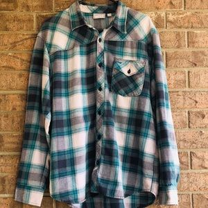 Vans Shirts - Vans Plaid Button Down Shirt Sz Lg Flannel Green